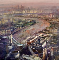 Tower Bridge, London by Cristina Bergoglio - Original Painting on Stretched Canvas sized 36x36 inches. Available from Whitewall Galleries